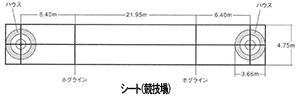 イラスト:カーリング競技に用いられている全体の寸法