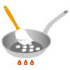 イラスト:火で熱したフライパンの中にあるマシュマロをゴムベラ押さえている様子