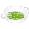 イラスト:耐熱皿に半分に切ったアスパラを並べ、バターをちぎって全体に散らした様子