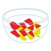 イラスト:一口大に切ったパプリカが小皿に入っている様子