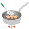 イラスト:フライパンの鶏肉を裏返し、さらに過熱している様子