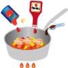 イラスト:パプリカを加え、カットトマト缶、コンソメ、ケチャップソースを加えて煮ている様子