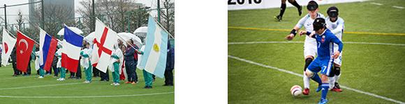 写真:写真①にIBSA2018の参加国旗、写真②は試合中の風景