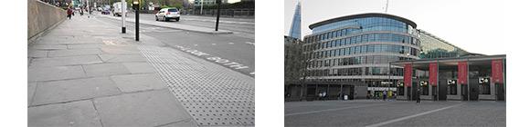 写真:2枚の画像で公正:(左)石たたみで出来ている歩道、(右)建物前の石たたみ広場。
