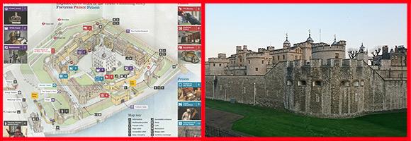 写真:2枚で公正:(左)ロンドン塔内のマップ、(右)ロンドン塔の外観。